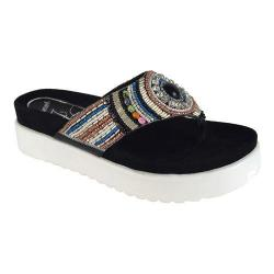 Women's J. Renee Fantina Beaded Flatform Thong Black Multi Nappa Leather/Beading