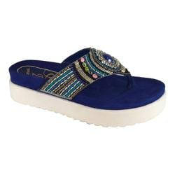 Women's J. Renee Fantina Beaded Flatform Thong Blue Nappa Leather/Beading