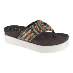 Women's J. Renee Fantina Beaded Flatform Thong Gray Multi Nappa Leather/Beading