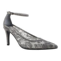 Women's J. Renee Jena Ankle Strap Pewter Dance Glitter Fabric/Mesh
