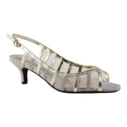 Women's J. Renee Rebeka Slingback Sandal Platinum Metallic Nappa Leather/Dance Glitter/Mesh