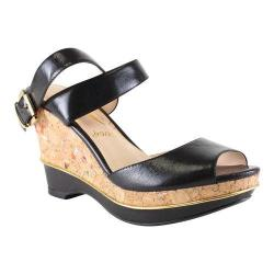 Women's J. Renee Sarila Ankle Strap Wedge Sandal Black Kidskin