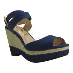 Women's J. Renee Sarila Ankle Strap Wedge Sandal Denim Fabric