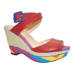 Women's J. Renee Sarila Ankle Strap Wedge Sandal Red Kidskin