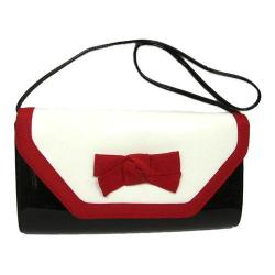 Women's J. Renee SH024 Clutch White/Black/Red Faux Patent Leather/Grosgrain