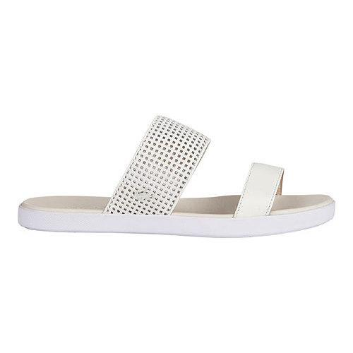 d88e5b404b5f0 Shop Women s Lacoste Natoy 216 1 Slide Off White Black Leather - Free  Shipping Today - - 11943882