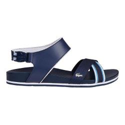 Women's Lacoste Mayabay 216 1 Ankle Strap Sandal Navy Leather/Textile