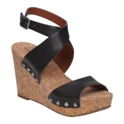 Women's Lucky Brand Missey Ankle Strap Cork Sandal Black Leather