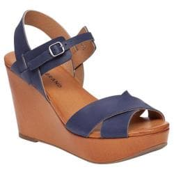 Women's Lucky Brand Modille Platform Wedge Sandal Moroccan Blue Leather