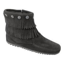 Women's Minnetonka Double Fringe Side Zip Boot Black Suede