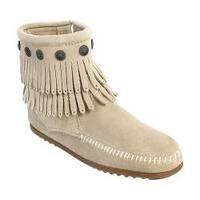 Women's Minnetonka Double Fringe Side Zip Boot Stone Suede