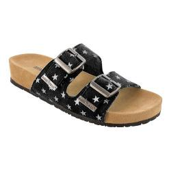Girls' Minnetonka Gigi Slide Black Synthetic/Silver Stars