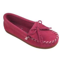 Girls' Minnetonka Kilty Suede Moc Hot Pink Suede