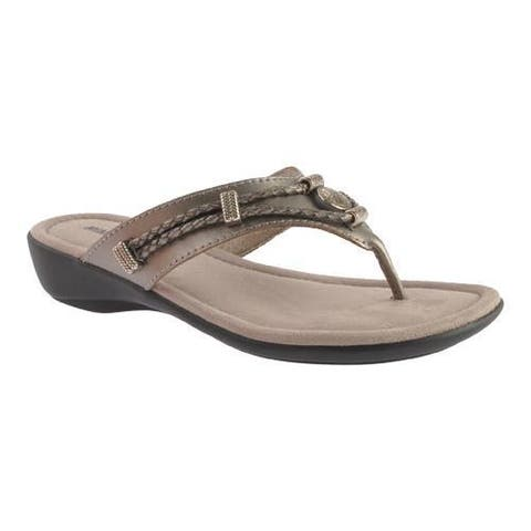 Women's Minnetonka Silverthorne Thong Pewter Leather