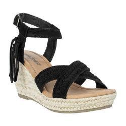 Women's Minnetonka Naomi Ankle Strap Sandal Black Suede