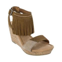 Women's Minnetonka Poppy Fringed Ankle Strap Sandal Dusty Brown/Color Block Suede
