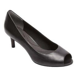 Women's Rockport Total Motion Finula Peep Toe Pump Black Calf Leather