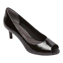 Women's Rockport Total Motion Finula Peep Toe Pump Black Patent Leather