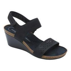 Women's Rockport Total Motion Taja Quarter Strap Sandal Black Cas Suede