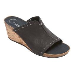 Women's Rockport Total Motion Taja Slide Sandal Black Embossed Nubuck