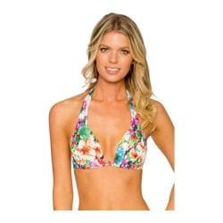 Women's Sunsets Slide Shirred Halter Swim Top with Molded Soft Cup In Bloom