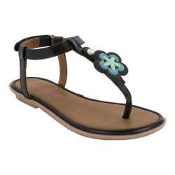 Girls' Bumbums & Baubles Belle T-Strap Thong Sandal Black Polyurethane