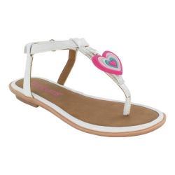 Girls' Bumbums & Baubles Belle T-Strap Thong Sandal White Polyurethane