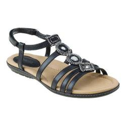 Women's Earth Seaside Strappy Sandal Black Soft Calf Leather