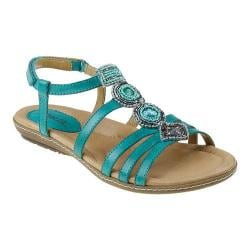 Women's Earth Seaside Strappy Sandal Teal Soft Calf Leather