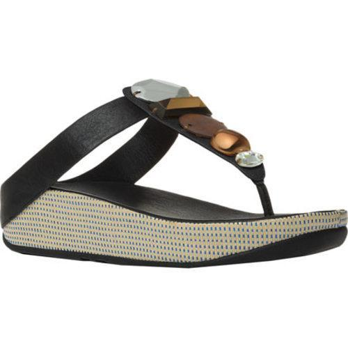 16b7f240b113 Shop Women s FitFlop Jeweley Leather Thong Sandal Black - Free Shipping  Today - Overstock - 11965292