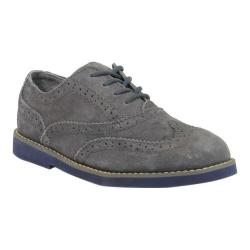 Boys' Florsheim Bucktown Wing Slip Jr. Grey Suede/Navy Smooth Leather