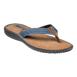 Men's Florsheim Coastal Thong Sandal Navy Canvas/Brown Crazy Horse Leather