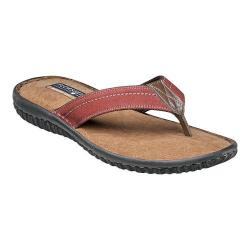 Men's Florsheim Coastal Thong Sandal Red Canvas/Brown Crazy Horse Leather