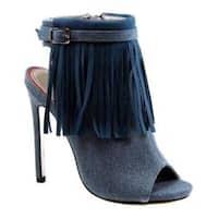Women's Luichiny Happy One Open Toe Bootie Light Blue Denim Fabric