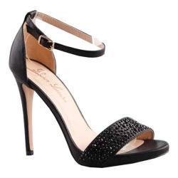 Women's Lauren Lorraine Arielle Ankle Strap Sandal Black Black Stones Fabric/Polyurethane