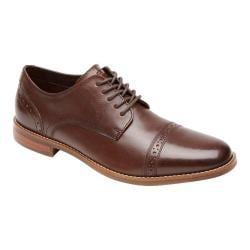 Men's Rockport Style Purpose Cap Toe Oxford Dark Brown Leather