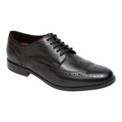 Men's Rockport Style Purpose Wing Tip Oxford Black Full Grain Leather