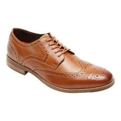 Men's Rockport Style Purpose Wing Tip Oxford Tan Full Grain Leather