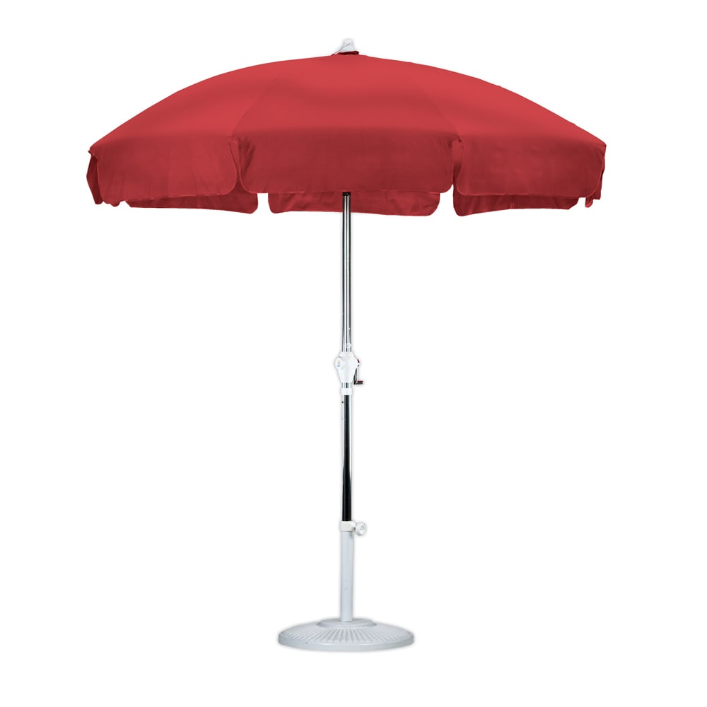 Sunline 7.5' Round Aluminum Frame Patio Style Market Umbrella, Crank Open, 3-way tilt, Anodized Silver Finish, Olefin Fabric