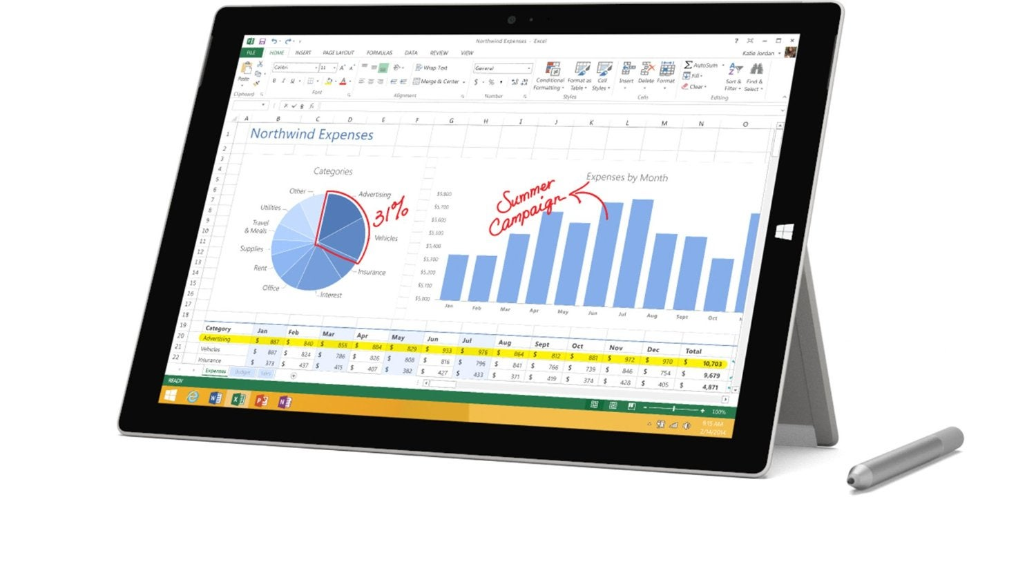 "Microsoft Surface Pro 3 Tablet - 12"" 3:2 Multi-touch Screen - 2160 x"