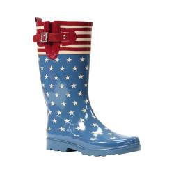 Women's Western Chief Flag Top Pop Rain Boot Vintage Blue