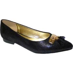 Women's Bellini Fritz Tassel Flat Black Lizard Fabric