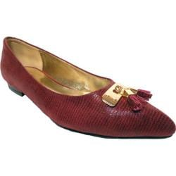 Women's Bellini Fritz Tassel Flat Wine Lizard Fabric