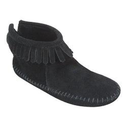 Women's Minnetonka Back Zipper Boot Softsole Black Suede