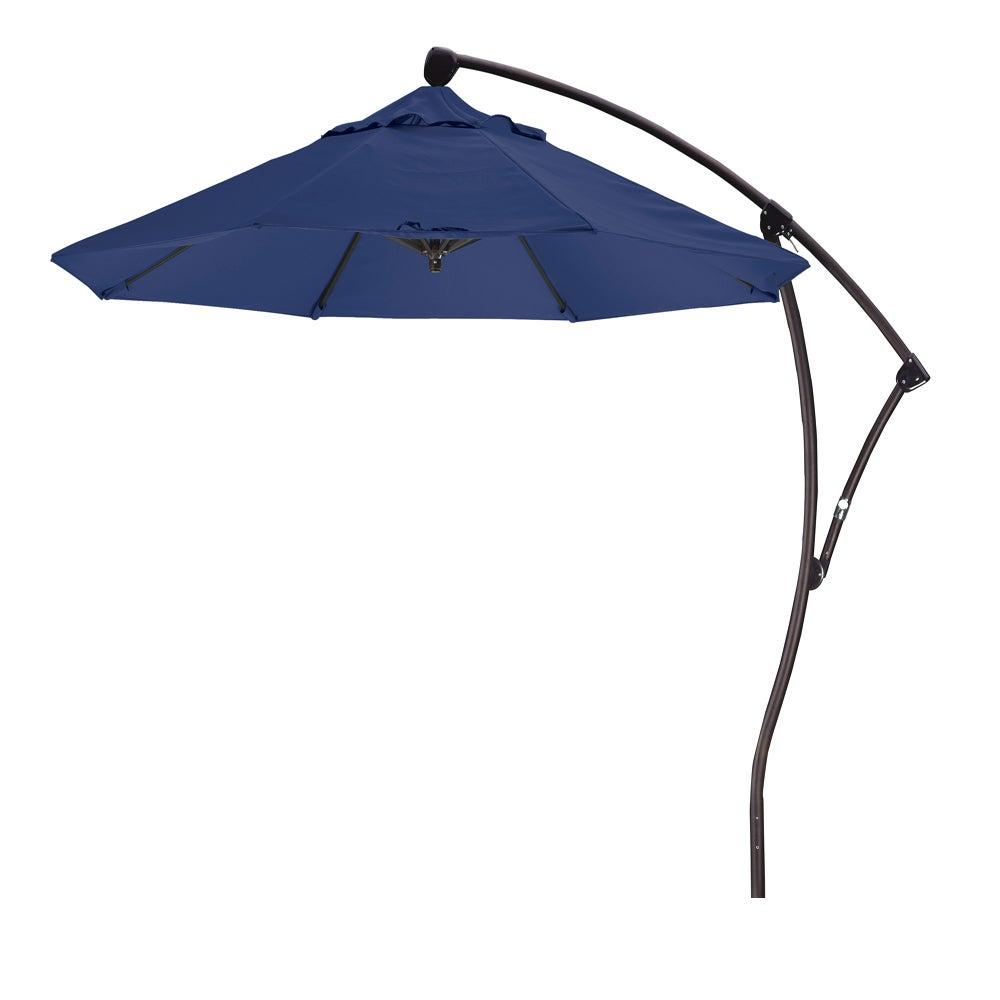 California Umbrella 9' Rd Aluminum Cantilever Market Umbrella, Crank Lift, 360 Degree Rotation, Bronze Finish, Olefin Fabric