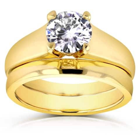 Annello by Kobelli 14k Yellow Gold 1ct Round Moissanite Classic Solitaire Bridal Set