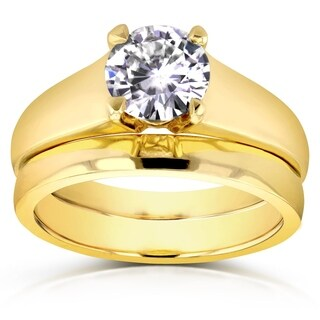 Annello by Kobelli 14k Yellow Gold 1ct Round Moissanite (HI) Classic Solitaire Bridal Set