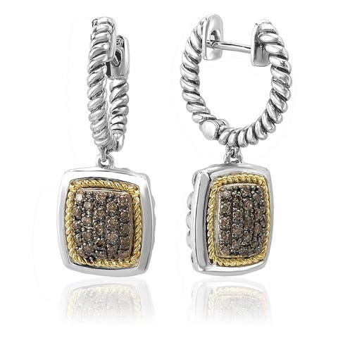 Avanti Sterling Silver and 18k Yellow Gold 3/8ct TDW Brown Diamond Square Dangle Earrings (Brown)