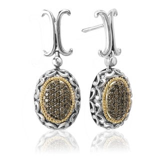 Avanti Sterling Silver and 18k Yellow Gold 3/8ct TDW Brown Diamond Oval Dangle Earrings (Brown, SI2-I1)