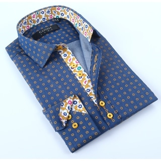 Coogi Mens Navy/Yellow Dress Shirt